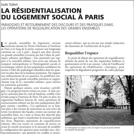 La résidentialisation du logement social à Paris