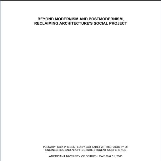 Beyond Modernism and postmodernism