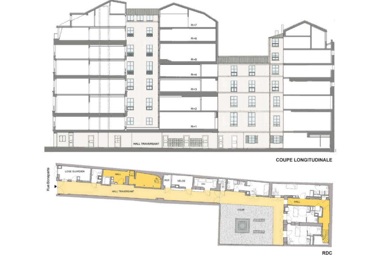 Projet rehabilitation Rue-Bonaparte-3 par Atelier JS Tabet