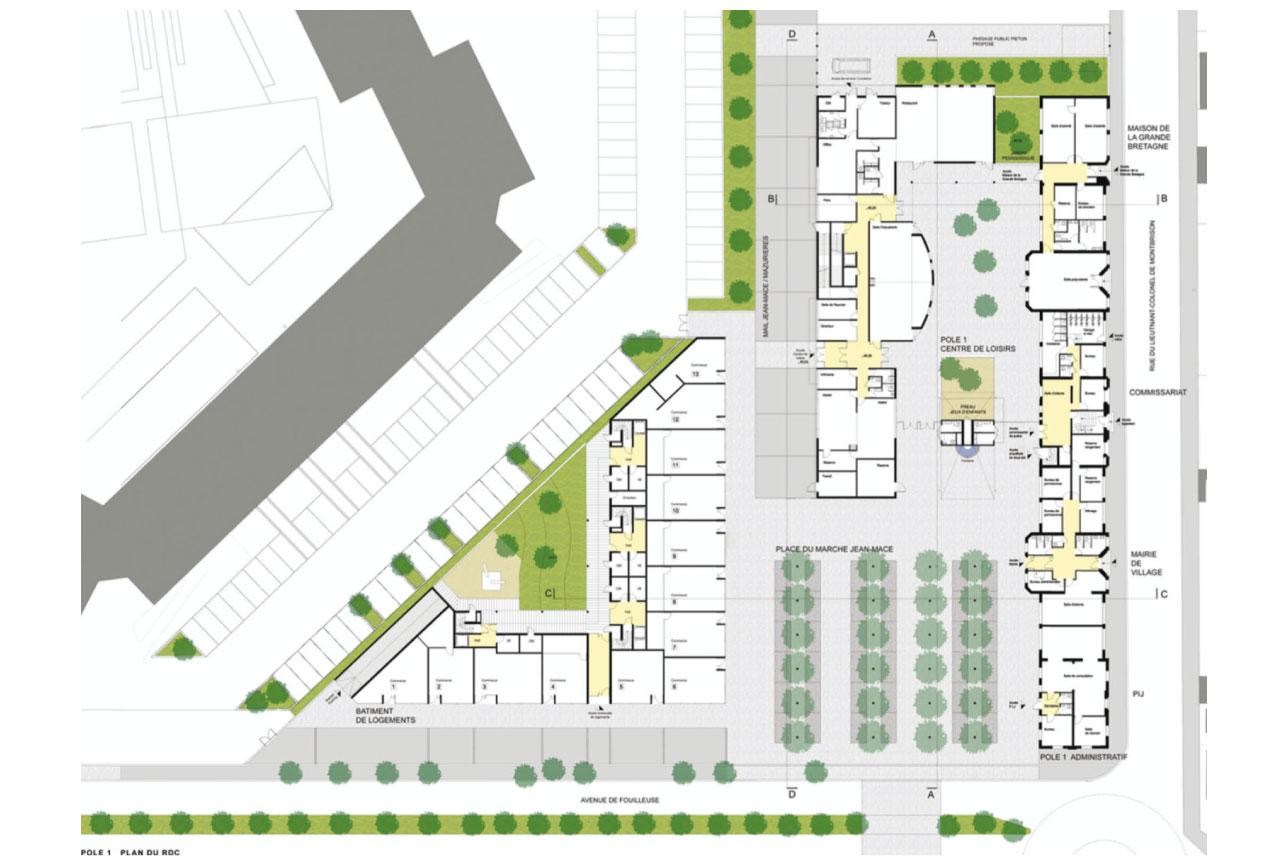 Projet urbanisme Rueil pôle administratif 4 par Atelier JS Tabet